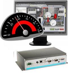 """Advantech PC box sans ventilation 1xEthernet, 2xCOM, Mini-PCIe   Movicon CE   Moniteur TFT 19\""""   Clavier   Souris"""