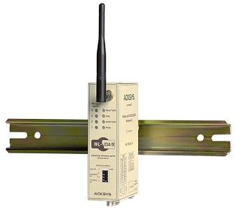 Passerelle série (RS232/422/485) <-> WiFi 802.11b, format rail din Externe, 7 à 60VDC