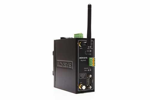 Passerelle série (RS232/422/485) <-> WiFi 802.11a,b,g,h, format rail Din, sortie alarme, C-KEY
